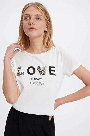DeFacto Baskılı Kısa Kollu T-shirt Ekru
